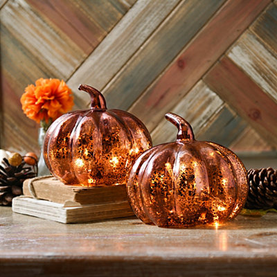 Bronze Mercury Glass LED Pumpkins, Set of 2