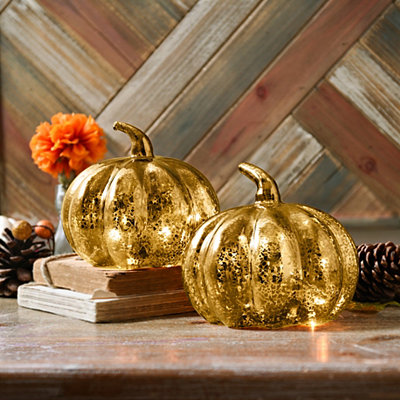Gold Mercury Glass LED Pumpkins, Set of 2