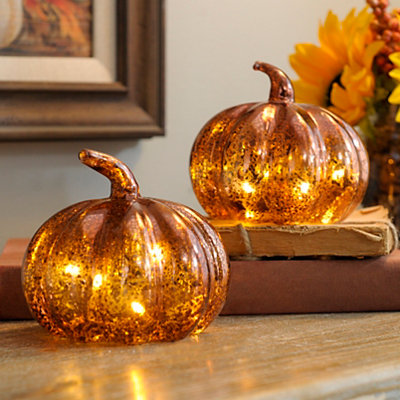 Orange Mercury Glass LED Pumpkins, Set of 2