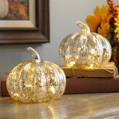 Silver Mercury Glass LED Pumpkins, Set of 2