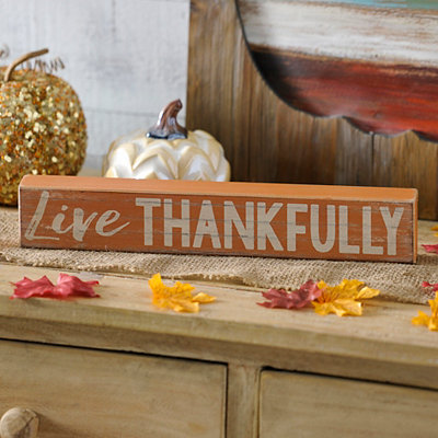 Live Thankfully Word Block