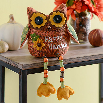 Orange Happy Harvest Owl Shelf Sitter