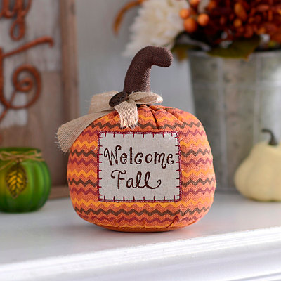 Welcome Fall Burlap Tabletop Pumpkin