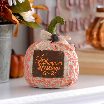 Autumn Blessings Burlap Tabletop Pumpkin