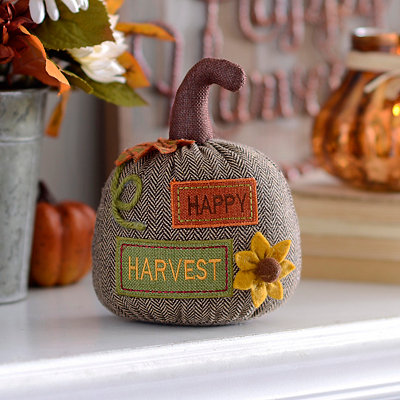 Happy Harvest Burlap Tabletop Pumpkin