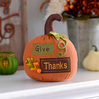 Give Thanks Burlap Tabletop Pumpkin