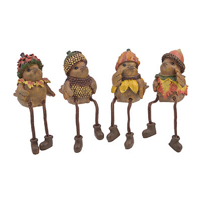Harvest Bird Shelf Sitters, Set of 4