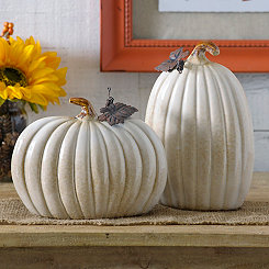 Cream Ceramic Pumpkins, Set of 2