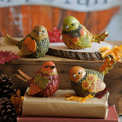 Harvest Leaf Bird Statues, Set of 4