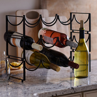 Black Stackable Metal Wine Rack