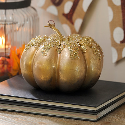 Champagne Jeweled Metallic Pumpkin