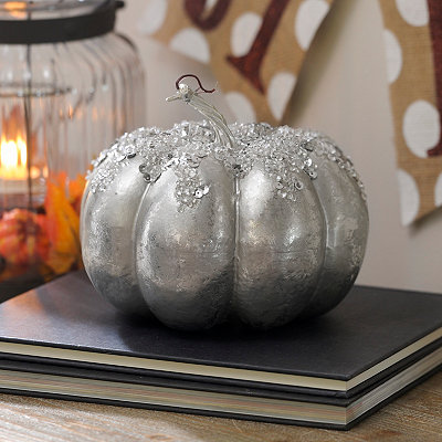 Silver Jeweled Metallic Pumpkin