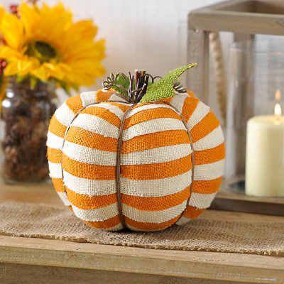 Orange Striped Burlap Pumpkin
