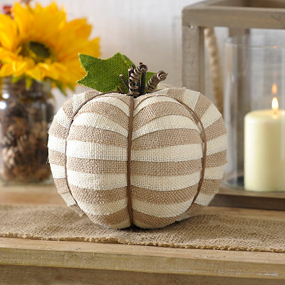 Tan Striped Burlap Pumpkin