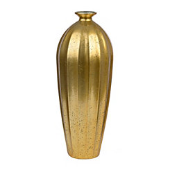Ribbed Gold Glass Vase