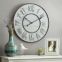 Slatted Wooden Galvanized Clock