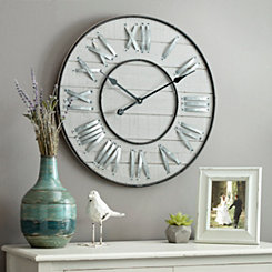 Slatted Wooden Galvanized Clock