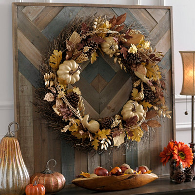 Golden Pumpkin Mix Wreath