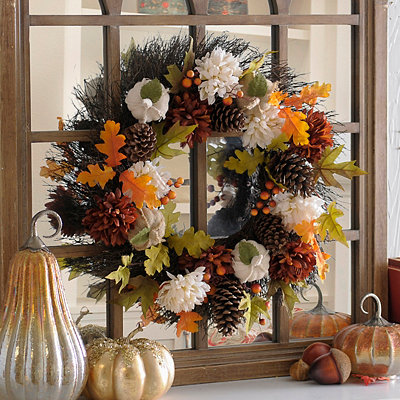 Burlap Pumpkins and Mums Wreath