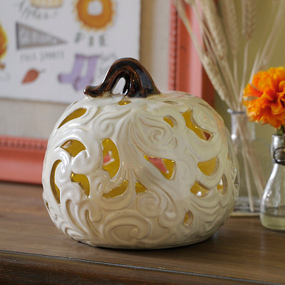 Cream Pre-Lit Flowing Ceramic Pumpkin