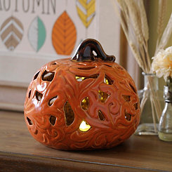 Orange Pre-Lit Flowing Ceramic Pumpkin