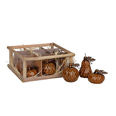 Brown Diamond Ceramic Mini Pumpkins, Set of 9