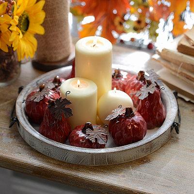 Red Diamond Ceramic Mini Pumpkins, Set of 9