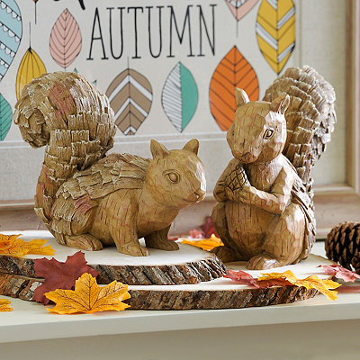 Wooden Squirrel Figurines, Set of 2