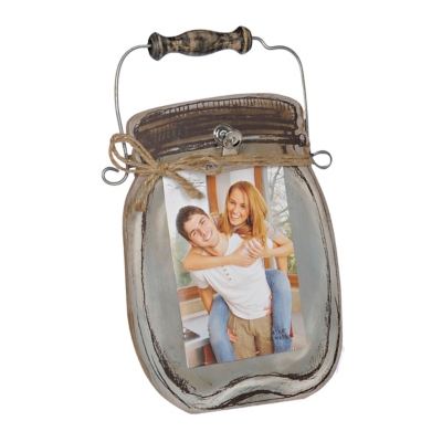 Wooden Mason Jar Clip Picture Frame, 4x6