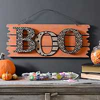 Halloween Orange Boo Wall Plank Plaque