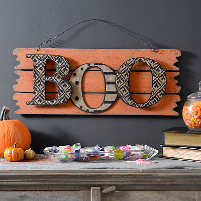 Halloween Orange Boo Wall Plank Plaque
