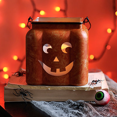 Square Orange LED Jack O' Lantern