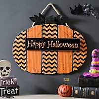 Happy Halloween Chevron Pumpkin Sign