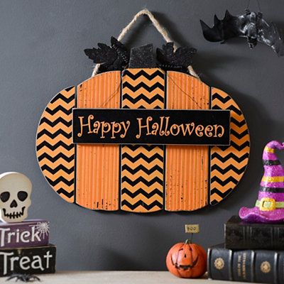 Happy Halloween Chevron Pumpkin Sign