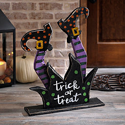Trick or Treat Wooden Witch Legs