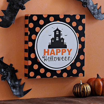 Happy Halloween Castle Polka Dot Print Block