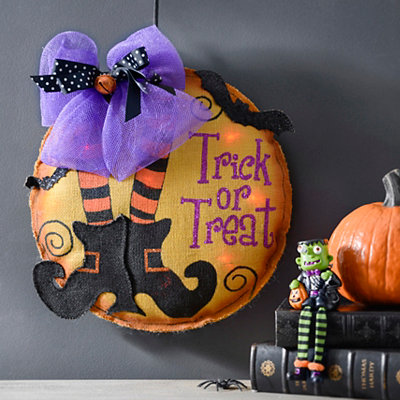 Halloween Witch Shoe Burlap LED Wall Hanger