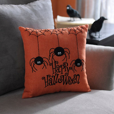 Happy Halloween Stitched Spider Pillow