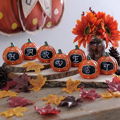 Monogram Harvest Mini Pumpkins, Set of 7