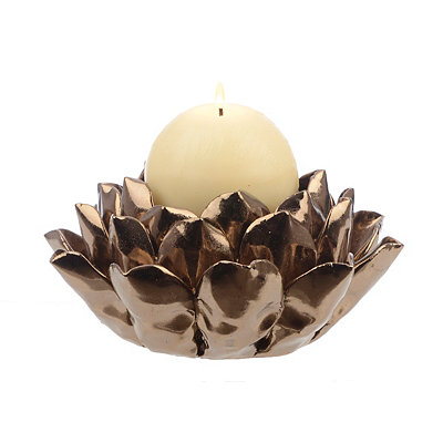 Bronze Lotus Flower Candle Holder
