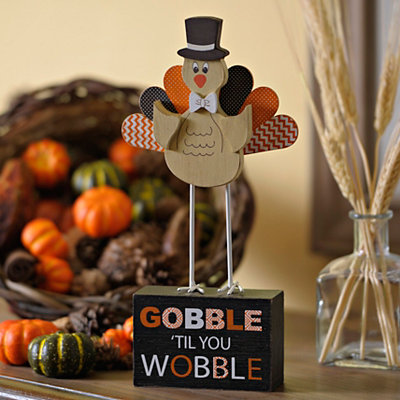 Gobble Til You Wobble Turkey on Stand Statue