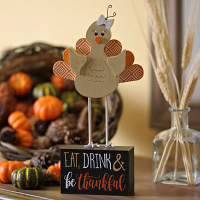 Eat, Drink, Thankful Turkey on Stand Statue