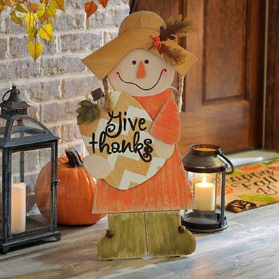 Scarecrow Girl Wooden Easel