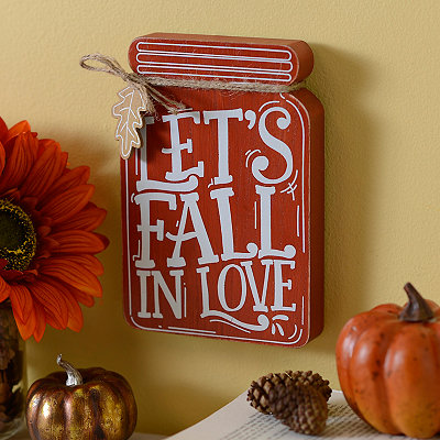 Let's Fall in Love Mason Jar Wooden Plaque