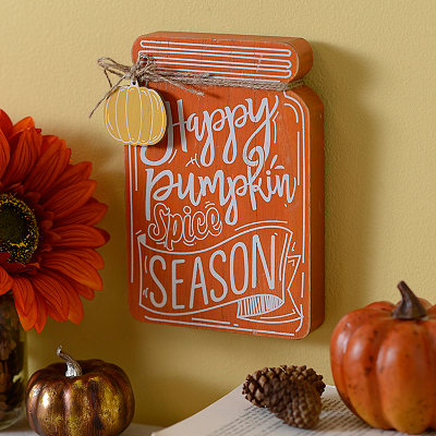 Happy Pumpkin Spice Season Mason Jar Wooden Plaque
