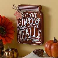 Hello Fall Mason Jar Wooden Plaque
