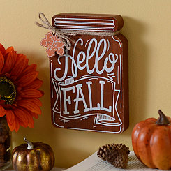 Hello Fall Mason Jar Wooden Plaque