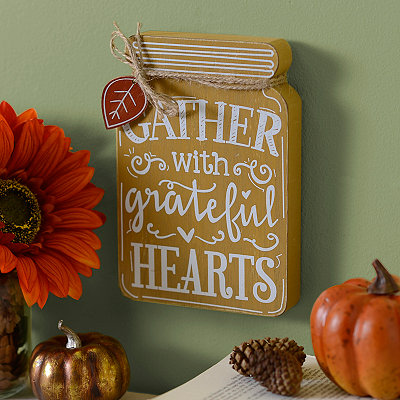 Grateful Hearts Mason Jar Wooden Plaque