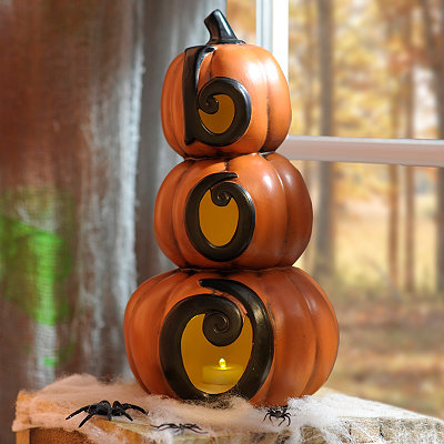 Ceramic LED Boo Pumpkin Statue