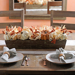 Corn Husk and Pumpkins Centerpiece